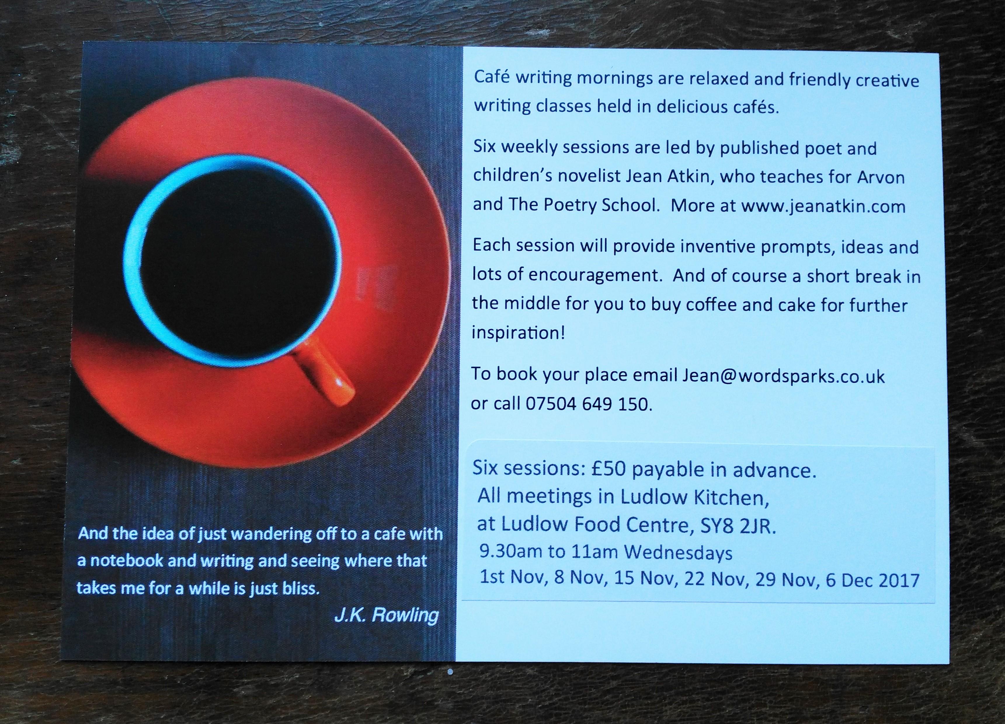 Cafe Writing Nov2017
