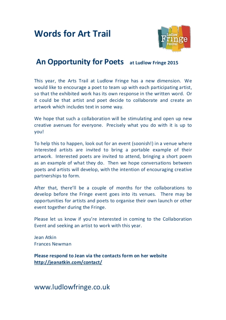 Words for Art Trail  at Ludlow Fringe 2015 FOR POETS