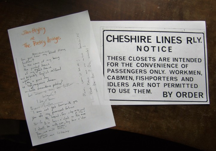 John Hegley's Souvenir Poem & Jean's dad's railway sign from the downstairs loo.